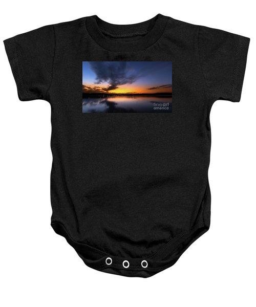 A Misty Sunset On Lake Lanier Baby Onesie