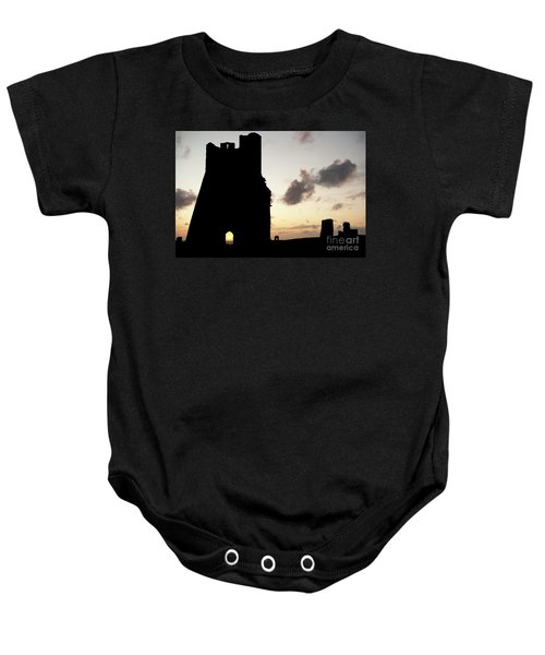 Aberystwyth Castle Tower Ruins At Sunset, Wales Uk Baby Onesie