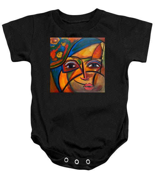 Abstract Woman With Flower Hat Baby Onesie
