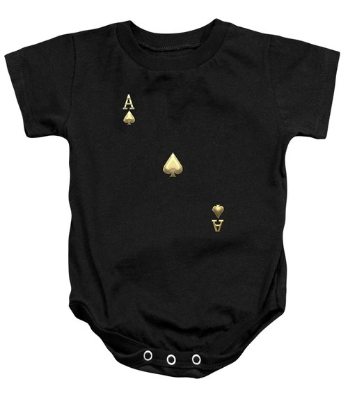 Ace Of Spades In Gold On Black   Baby Onesie
