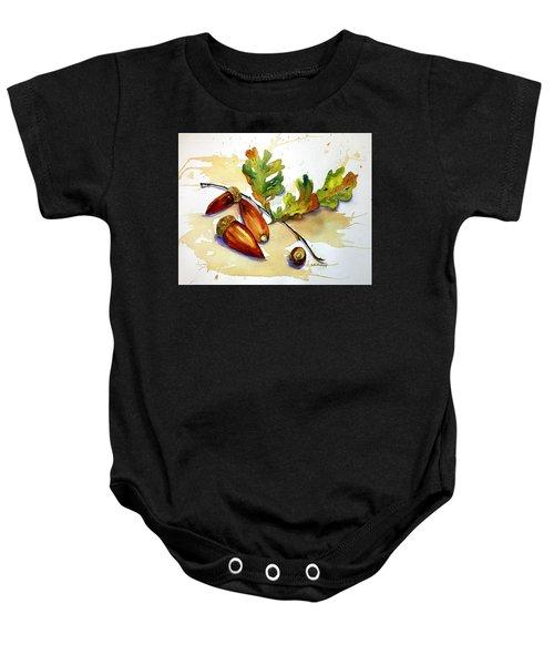 Acorns And Leaves Baby Onesie