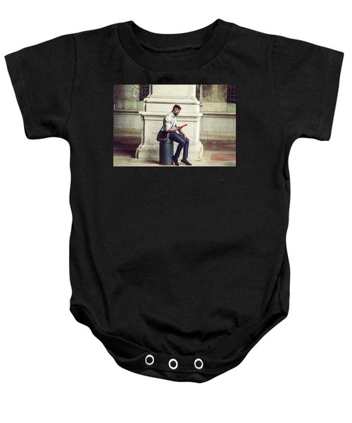 African American College Student Studying In New York Baby Onesie