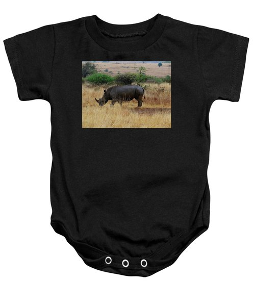 African Animals On Safari - One Very Rare White Rhinoceros Right Angle With Background Baby Onesie