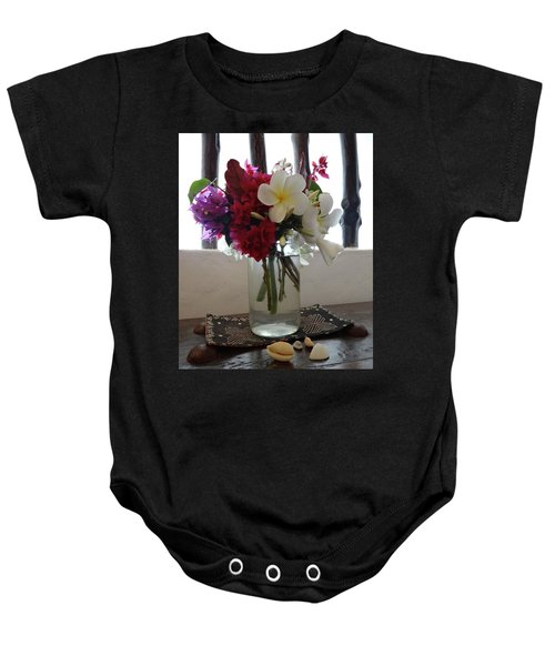African Flowers And Shells Baby Onesie