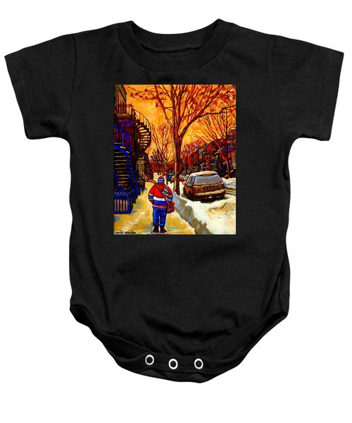 After The Hockey Game A Winter Walk At Sundown Montreal City Scene Painting  By Carole Spandau Baby Onesie