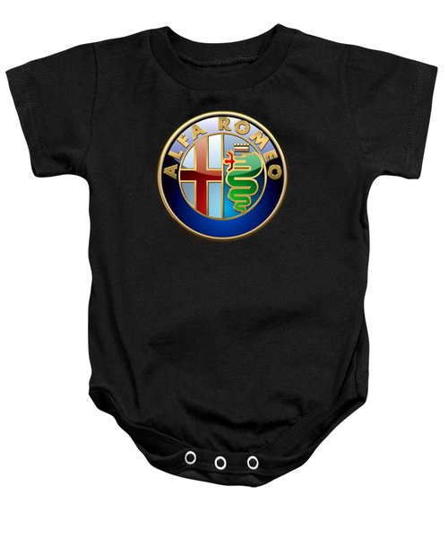 Alfa Romeo - 3 D Badge On Black Baby Onesie
