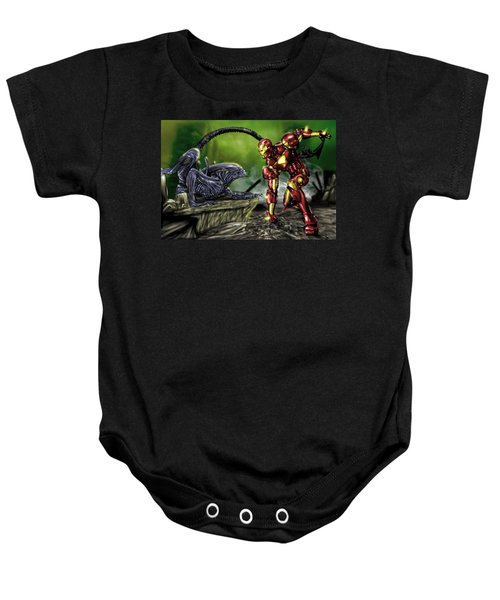 Alien Vs Iron Man Baby Onesie