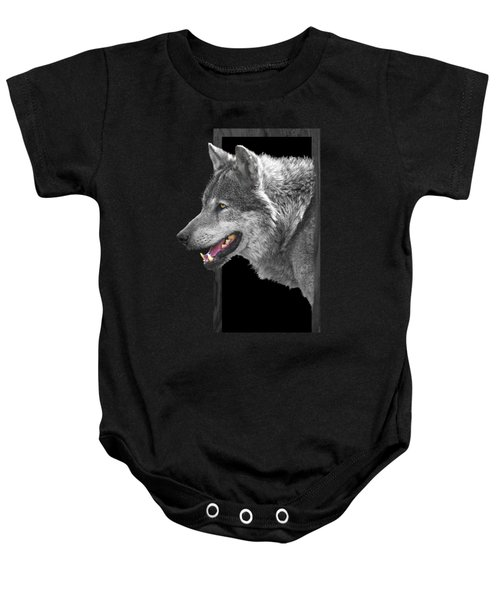 Alpha Male Wolf - You Look Tasty Baby Onesie by Gill Billington