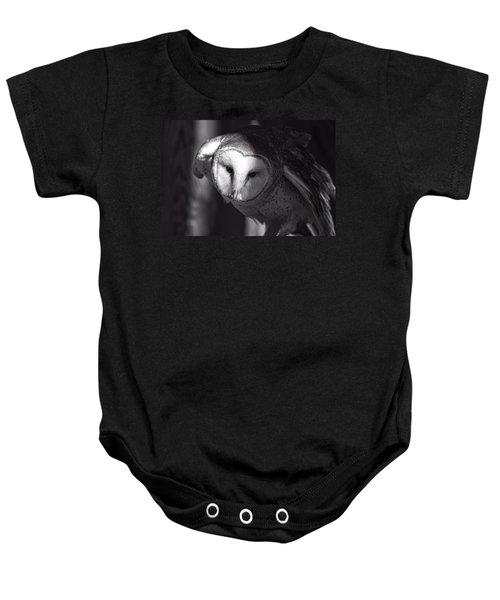 American Barn Owl Monochrome Baby Onesie