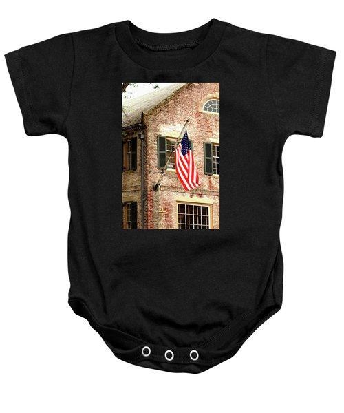 American Flag In Colonial Williamsburg Baby Onesie