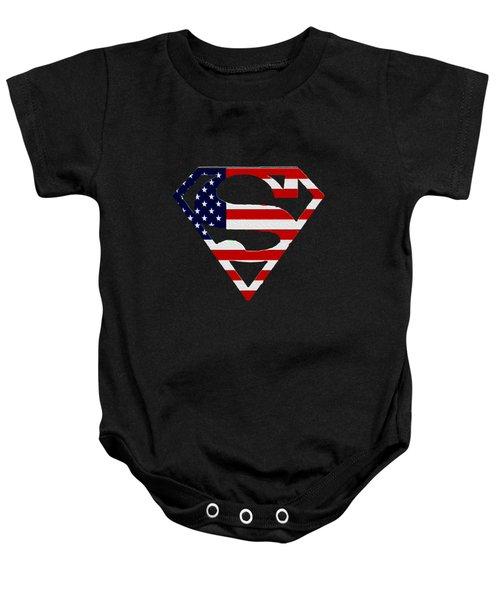 American Flag Superman Shield Baby Onesie
