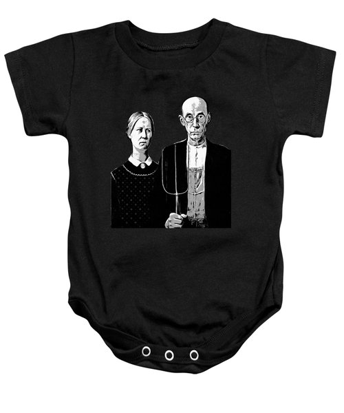 Baby Onesie featuring the digital art American Gothic Graphic Grant Wood Black White Tee by Edward Fielding