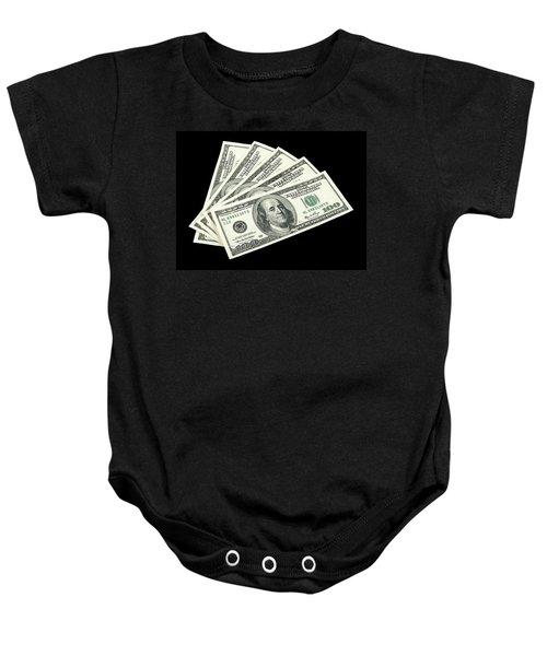 American Money On Black Background Baby Onesie