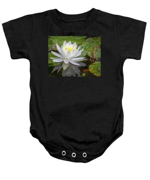 American White Water Lily Baby Onesie