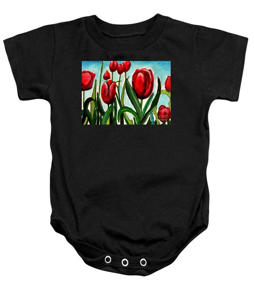 Among The Tulips Baby Onesie