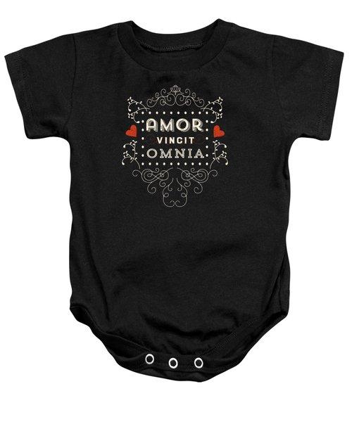 Amor Vincit Omnia Chalkboard Style Baby Onesie