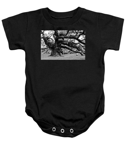 Angel Oak Tree 2009 Black And White Baby Onesie