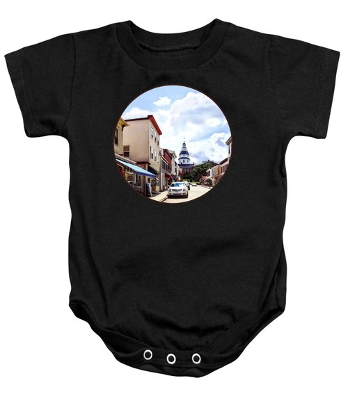 Annapolis Md - Shops On Maryland Avenue And Maryland State House Baby Onesie