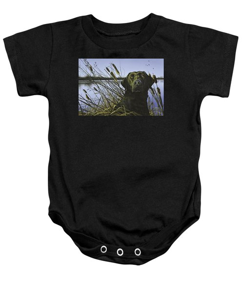 Anticipation - Black Lab Baby Onesie