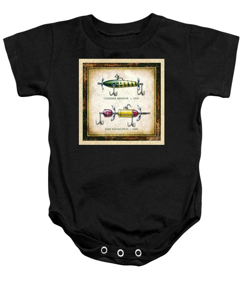 Antique Lure Panel One Baby Onesie