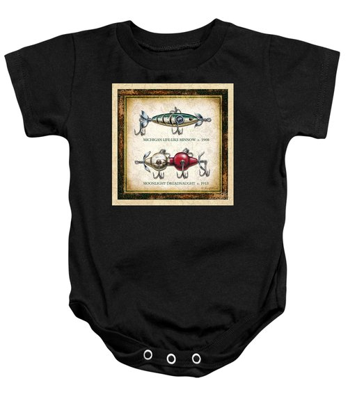 Antique Lure Panel Two Baby Onesie