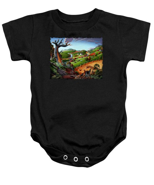 Appalachian Fall Thanksgiving Wheat Field Harvest Farm Landscape Painting - Rural Americana - Autumn Baby Onesie