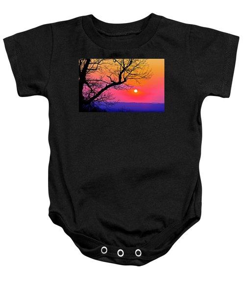 Appalcahian Sunset Tree Silhouette  #1 Baby Onesie