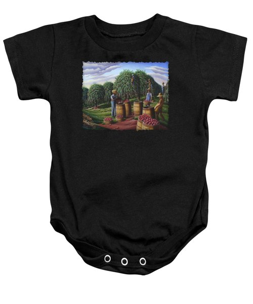 Apple Harvest - Autumn Farmers Orchard Farm Landscape - Folk Art Americana Baby Onesie