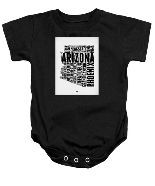 Arizona Word Cloud Map 2 Baby Onesie by Naxart Studio