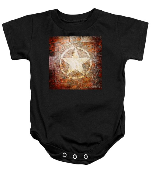 Army Star On Rust Baby Onesie
