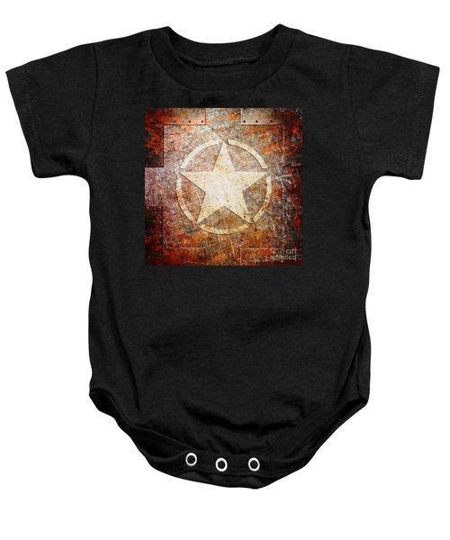 Army Star On Rust Baby Onesie
