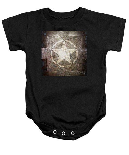 Army Star On Steel Baby Onesie