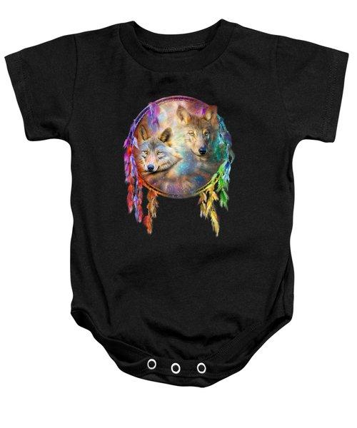 Dream Catcher - Wolf Spirits Baby Onesie by Carol Cavalaris