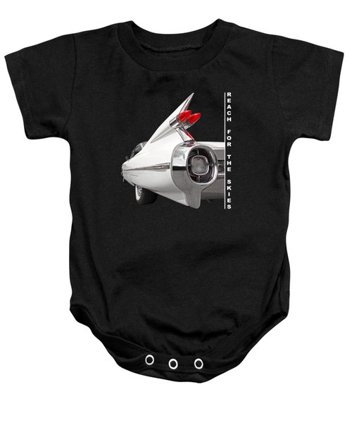 Reach For The Skies - 1959 Cadillac Tail Fins Black And White Baby Onesie