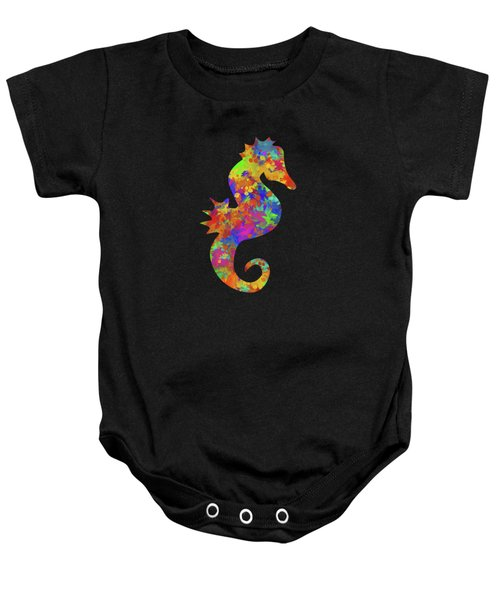 Seahorse Watercolor Art Baby Onesie