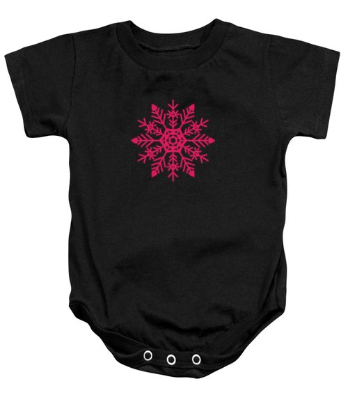 Snowflakes Rubine Red And White Baby Onesie
