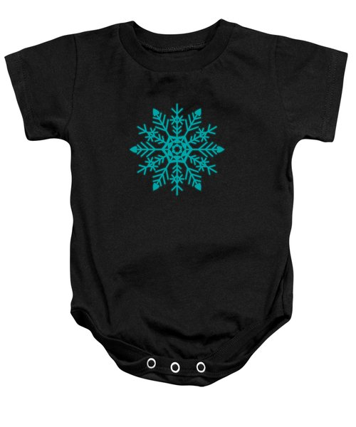 Snowflakes Green And White Baby Onesie by Kathleen Wong