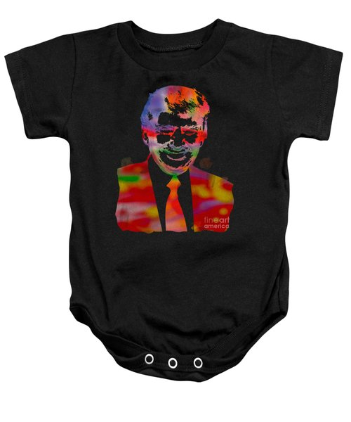 The Donald Trump Watercolor Portrait On Distressed Canvas Baby Onesie