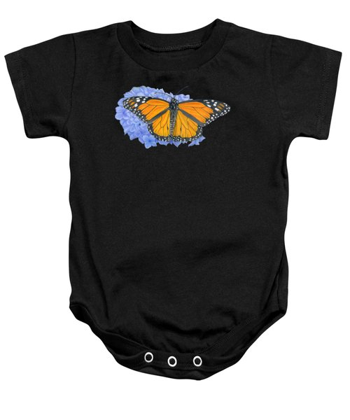 Monarch Butterfly And Hydrangea- Transparent Background Baby Onesie