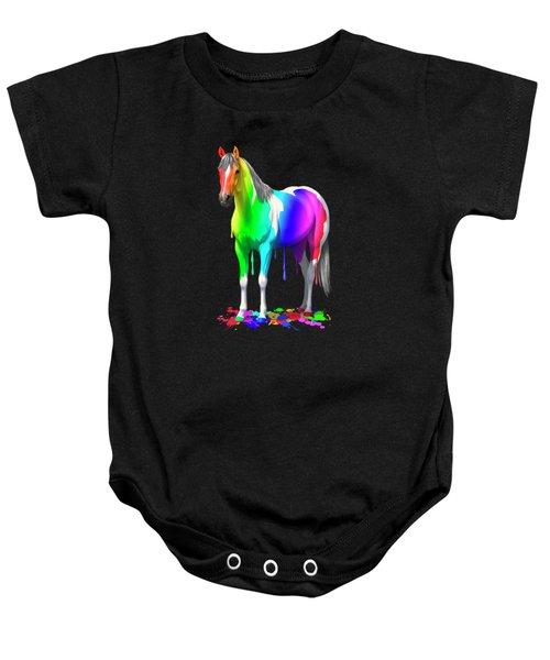 Colorful Rainbow Paint Horse Baby Onesie