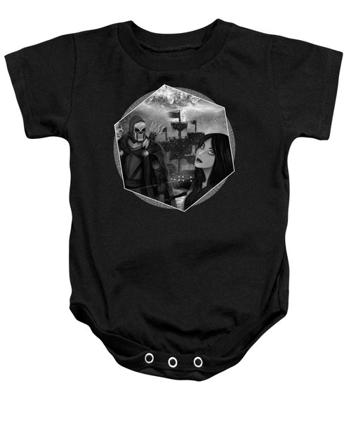 Now Or Never - Black And White Fantasy Art Baby Onesie