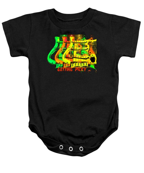 Baby Onesie featuring the photograph Triple Pickguards by Guitar Wacky