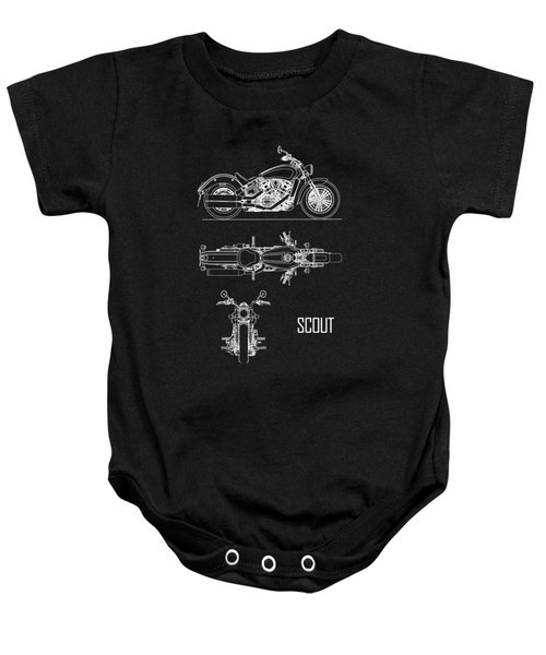 The Scout Motorcycle Blueprint Baby Onesie