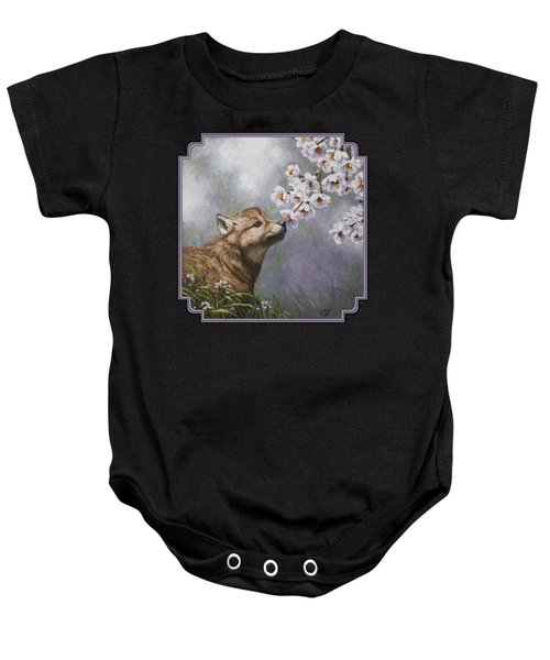 Wolf Pup - Baby Blossoms Baby Onesie by Crista Forest