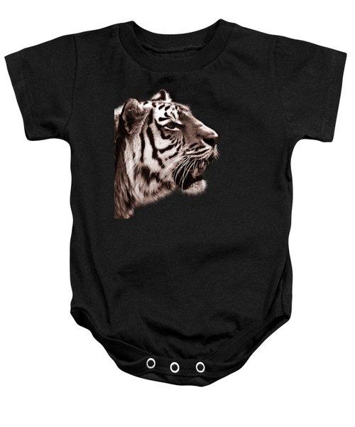 Siberian Tiger Profile Baby Onesie by Crystal Wightman