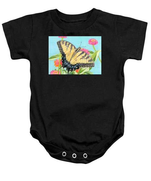 Swallowtail Butterfly And Zinnias Baby Onesie