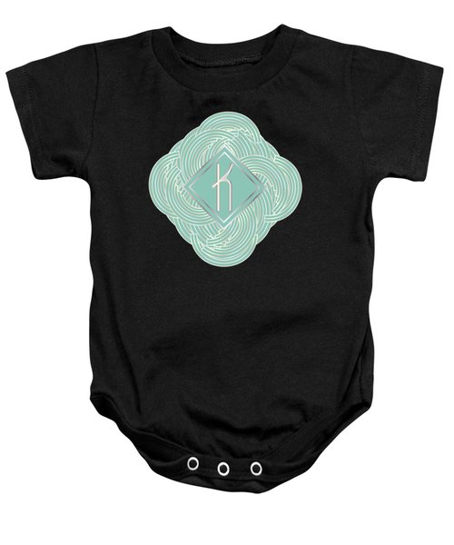1920s Blue Deco Jazz Swing Monogram ...letter K Baby Onesie by Cecely Bloom