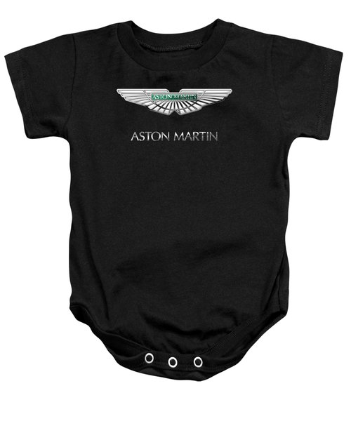 Aston Martin 3 D Badge On Black  Baby Onesie by Serge Averbukh