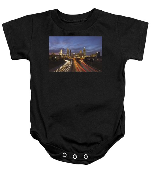Atlanta Night Lights Sunset Cityscape Skyline Art Baby Onesie