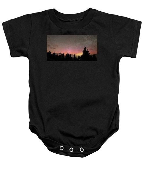 Aurora Borealis Over Mammoth Hot Springs In Yellowstone Np Baby Onesie
